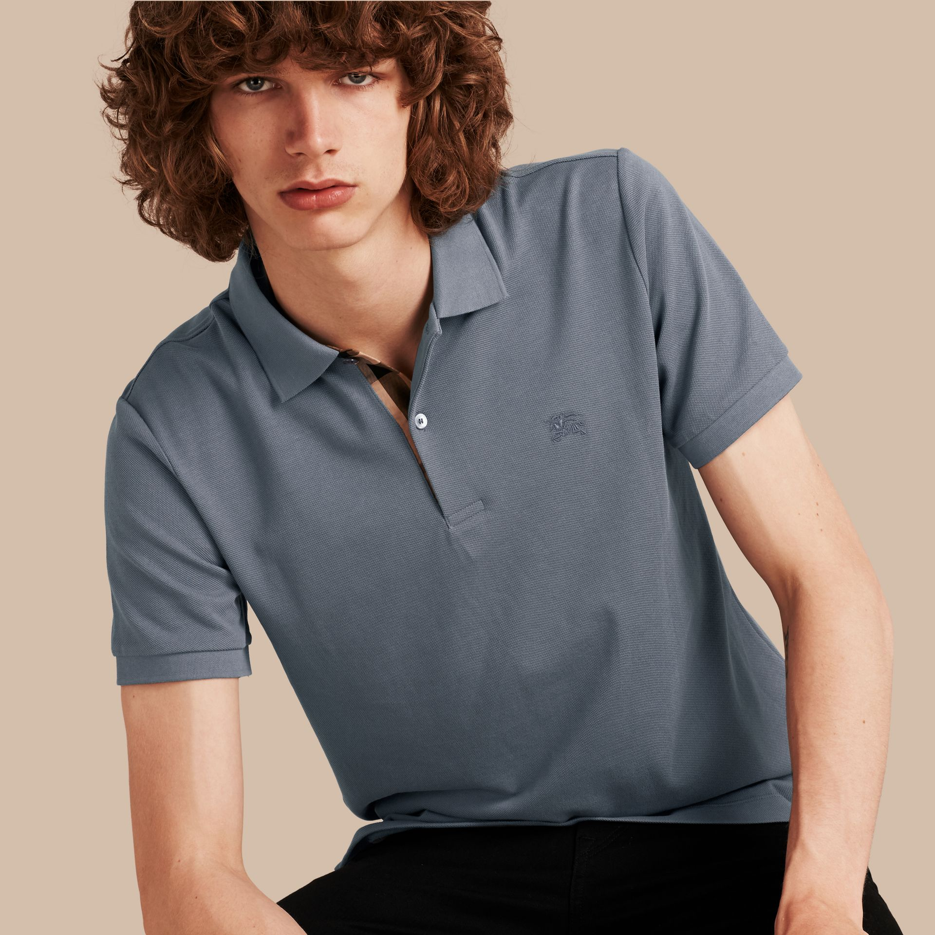 Check Placket Cotton Piqué Polo Shirt in Stone Blue - gallery image 1