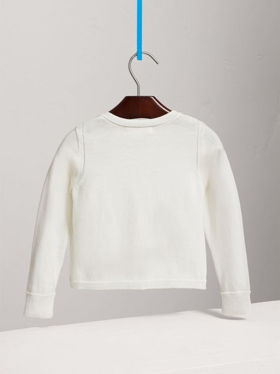 Check Cuff Cotton Knit Cardigan in White - Girl | Burberry - cell image 3