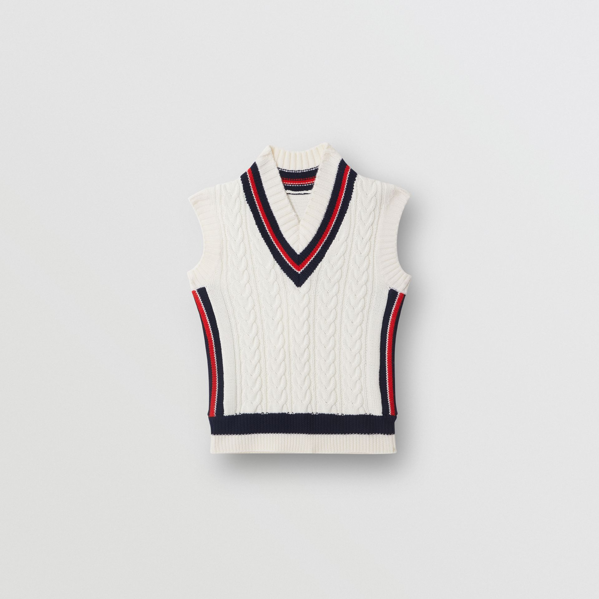 Stripe Detail Cotton and Merino Wool Vest in White | Burberry - gallery image 0