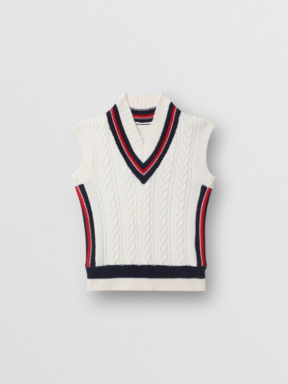 Stripe Detail Cotton and Merino Wool Vest in White
