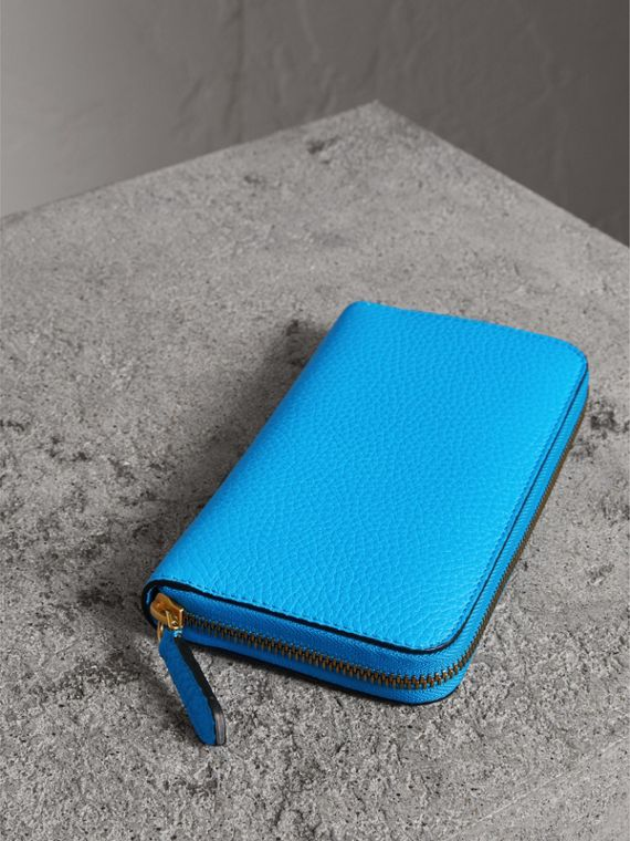 Embossed Leather Ziparound Wallet in Bright Blue - Women | Burberry United Kingdom - cell image 2