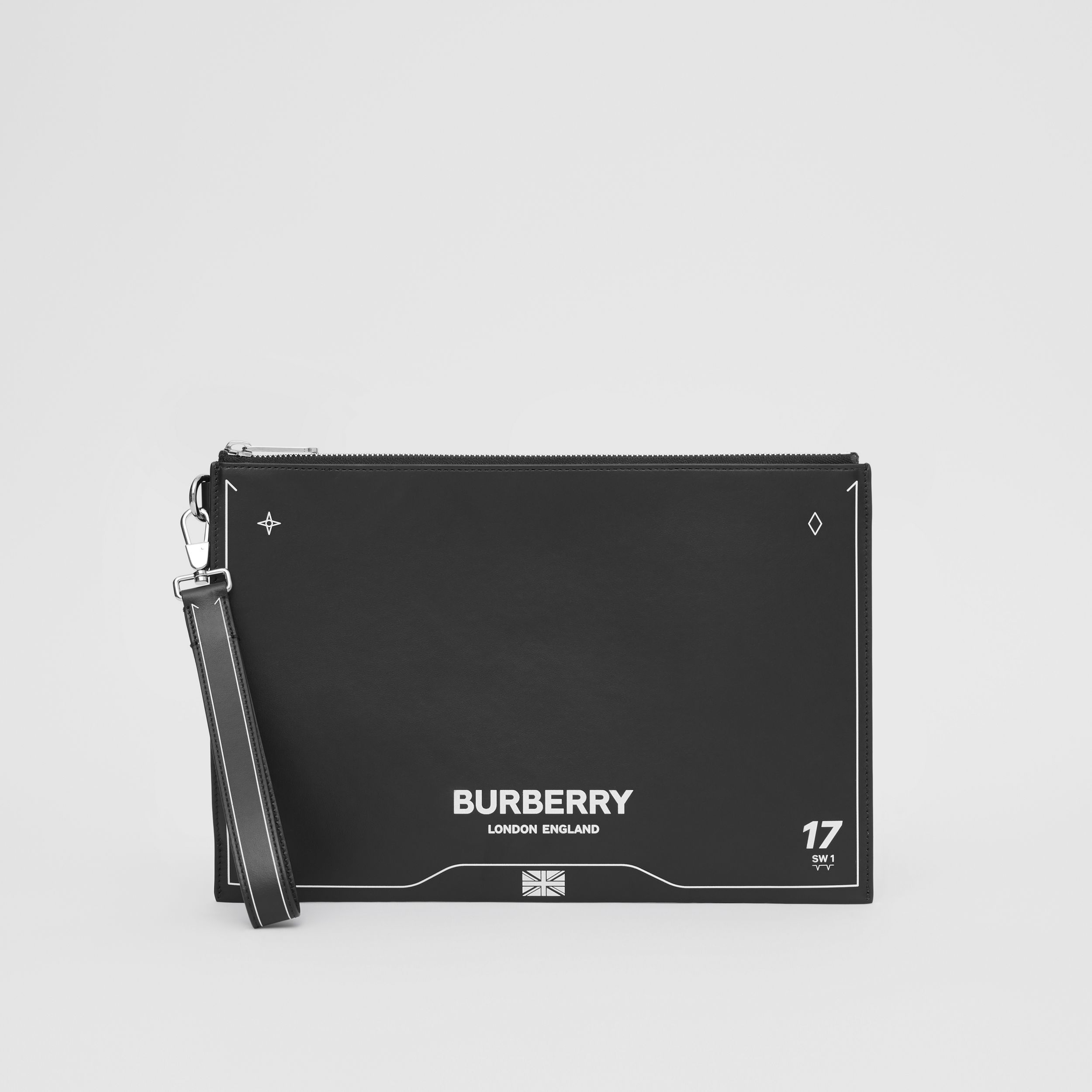 Symbol Print Leather Zip Pouch in Black | Burberry Australia - 3