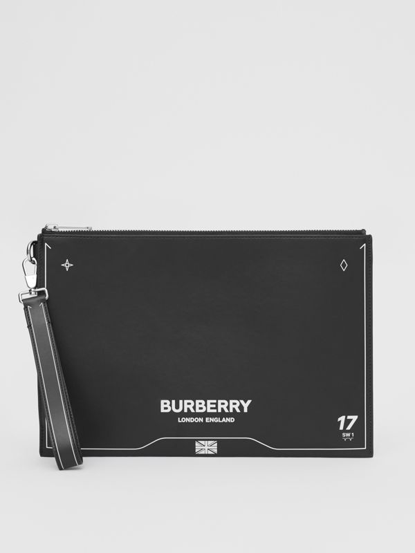Symbol Print Leather Zip Pouch in Black | Burberry United States - cell image 2