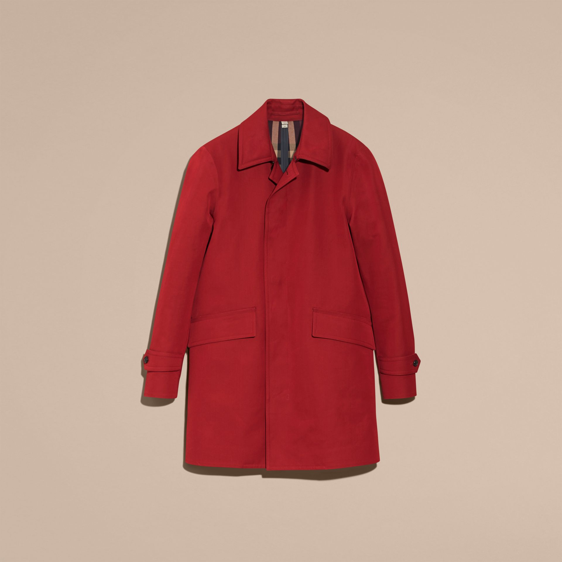 Showerproof Cotton Gabardine Car Coat Military Red - gallery image 4