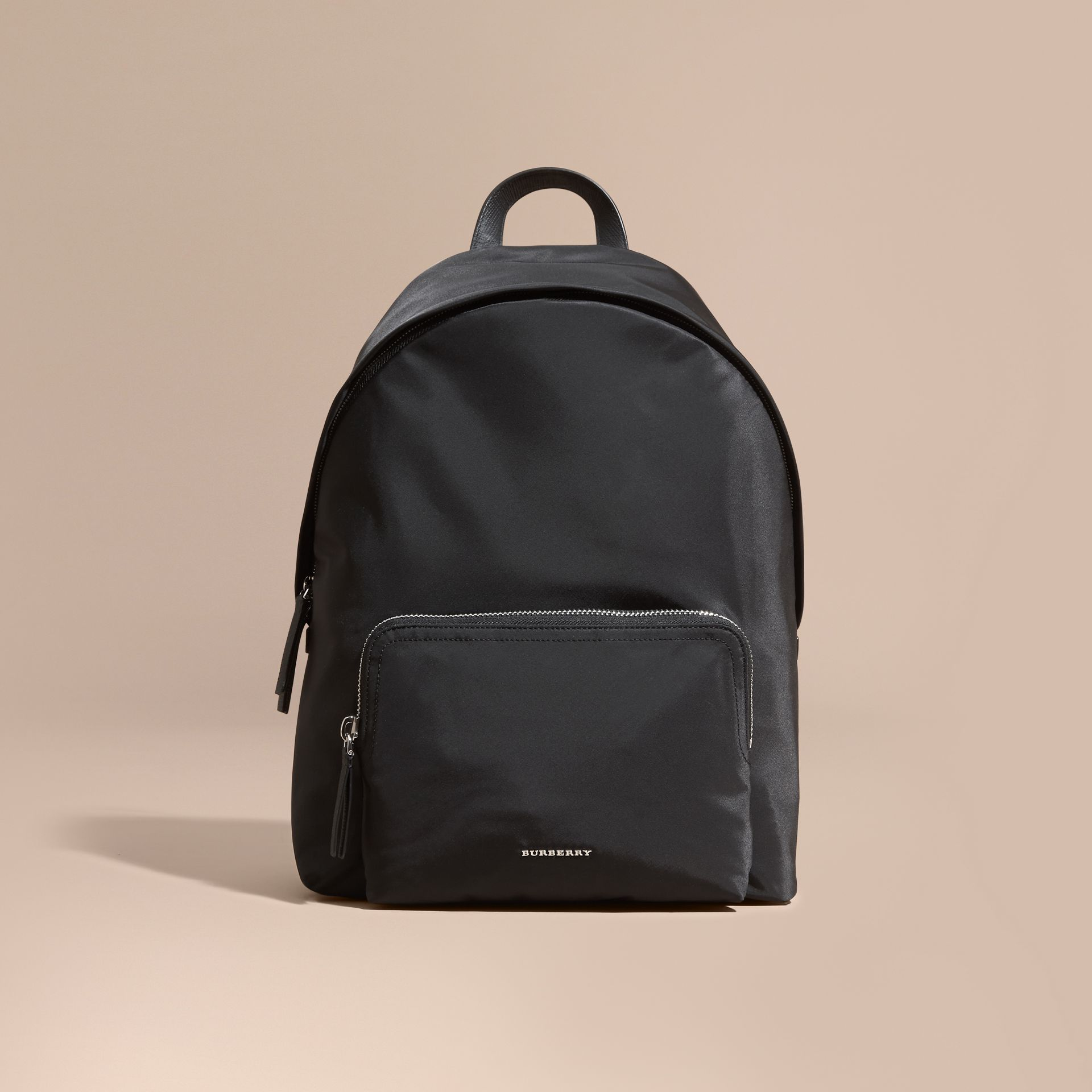 Black Leather Trim Nylon Backpack with Check Detail - gallery image 8