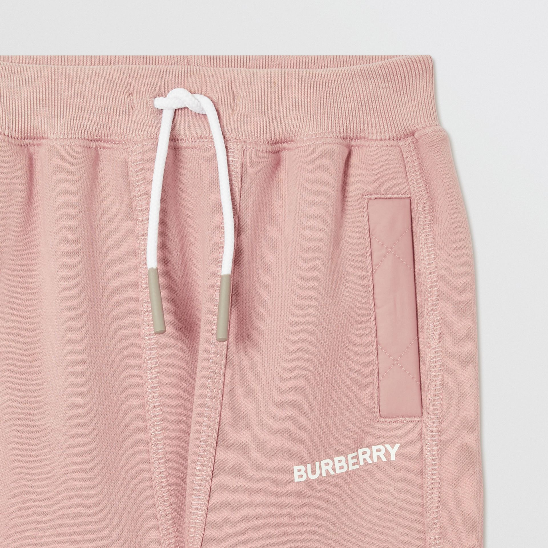 Diamond Quilted Detail Cotton Trackpants in Lavender Pink - Children | Burberry - gallery image 4