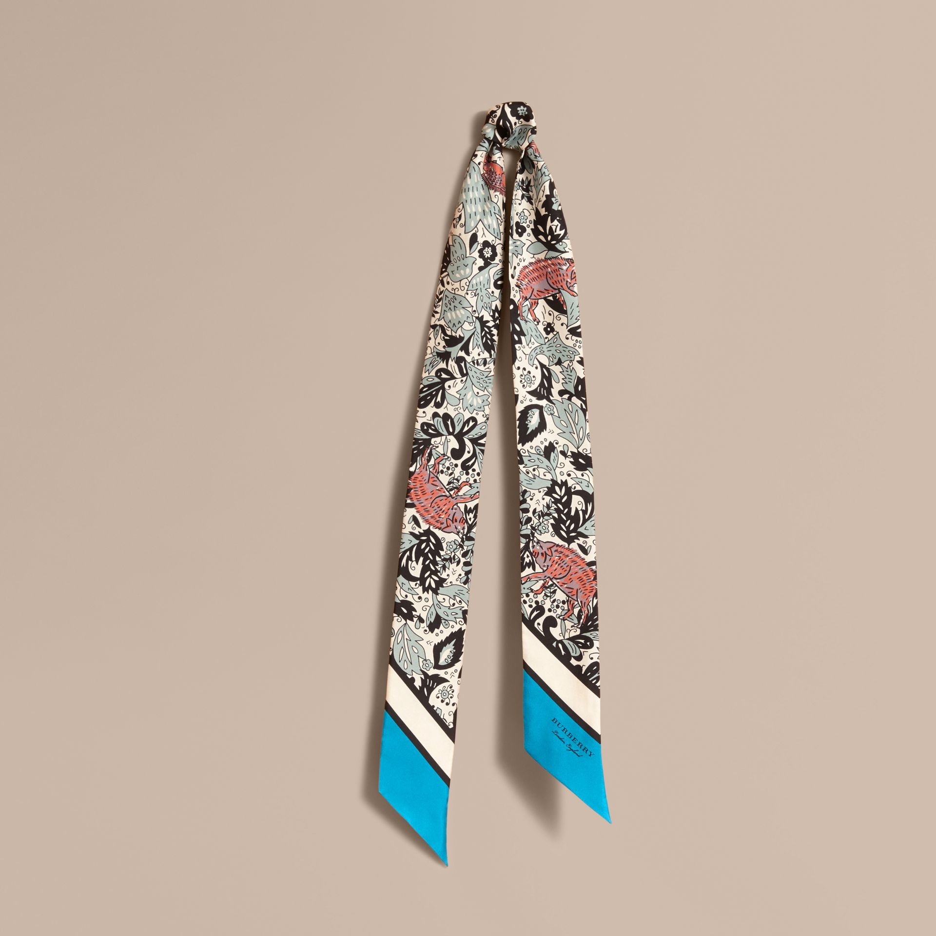 Beasts Print Silk Slim Scarf in Pale Blue Carbon - Women | Burberry United States - gallery image 1