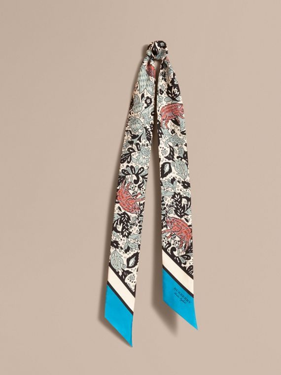 Beasts Print Silk Slim Scarf in Pale Blue Carbon