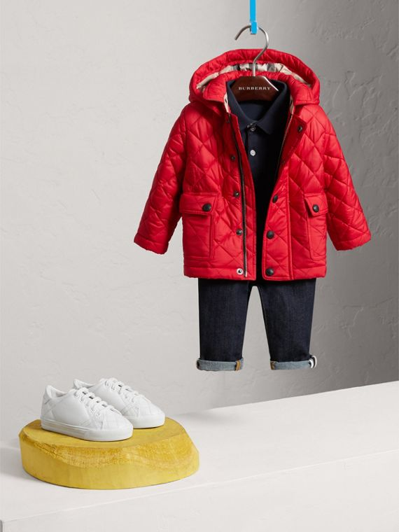 Check Detail Diamond-quilted Jacket in Bright Cherry Red | Burberry - cell image 2