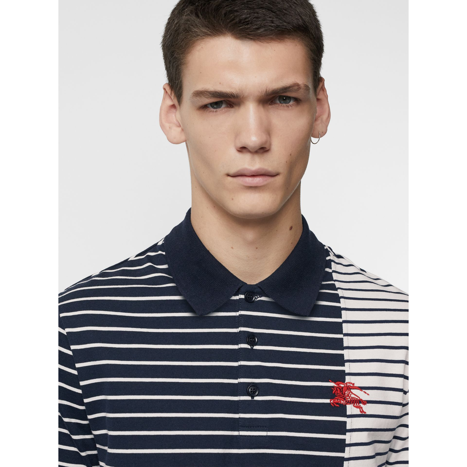 Contrast Stripe Cotton Polo Shirt in Bright Navy - Men | Burberry - gallery image 1