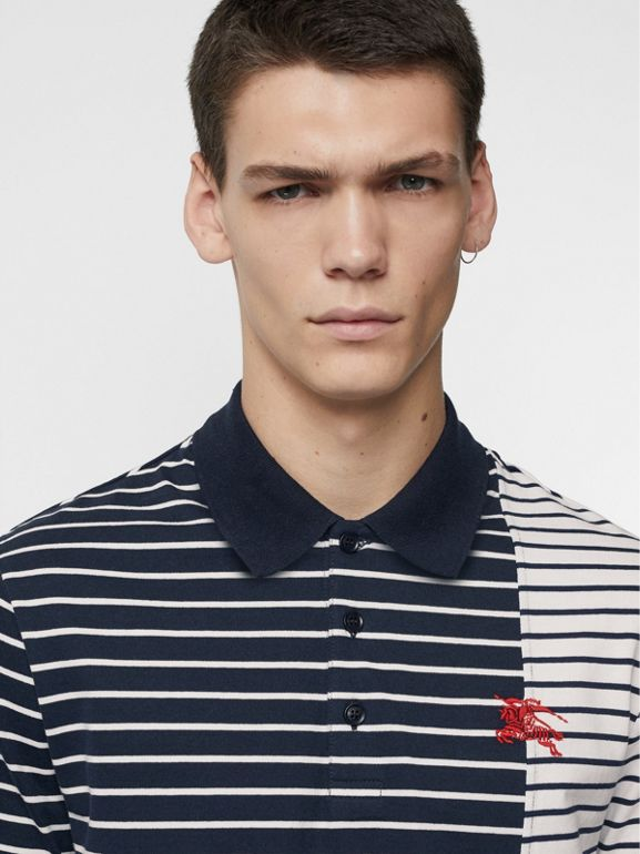 Contrast Stripe Cotton Polo Shirt in Bright Navy - Men | Burberry United Kingdom - cell image 1