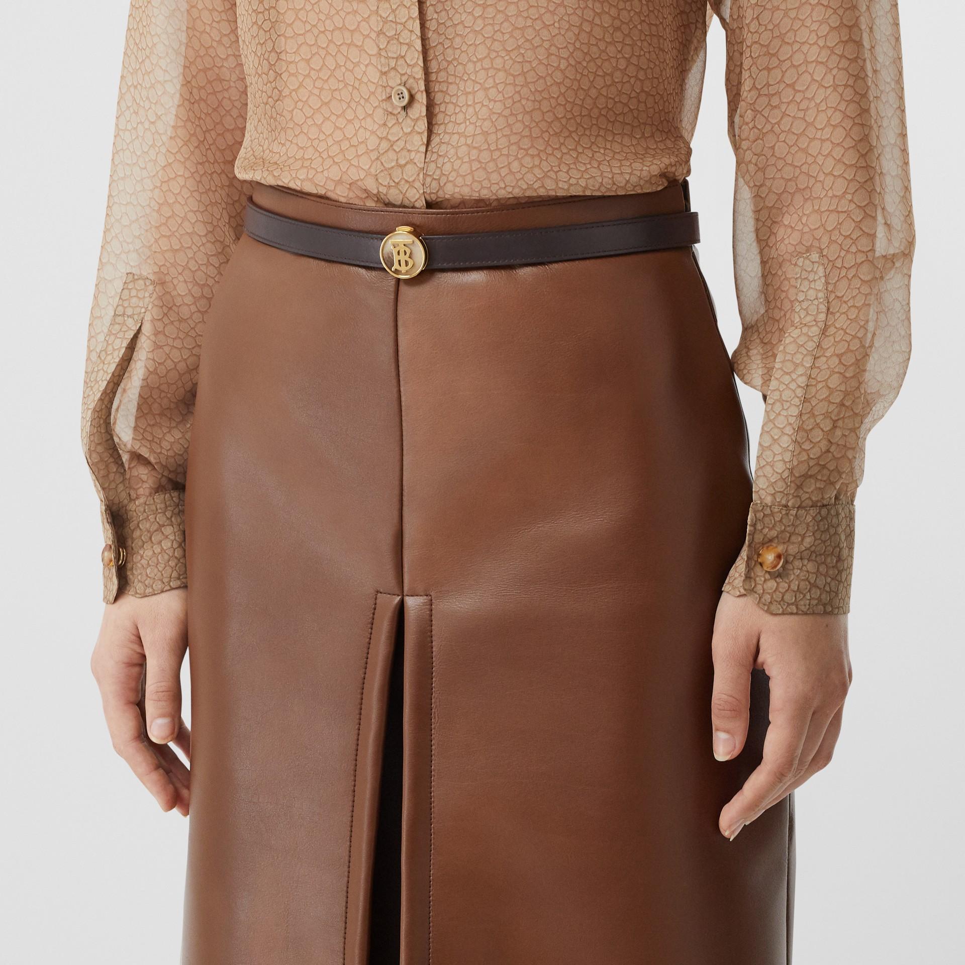 Monogram Motif Leather Belt in Deep Brown - Women | Burberry United Kingdom - gallery image 2