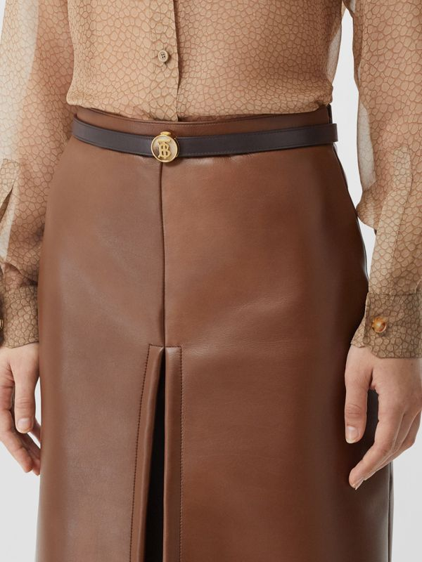 Monogram Motif Leather Belt in Deep Brown - Women | Burberry United Kingdom - cell image 2