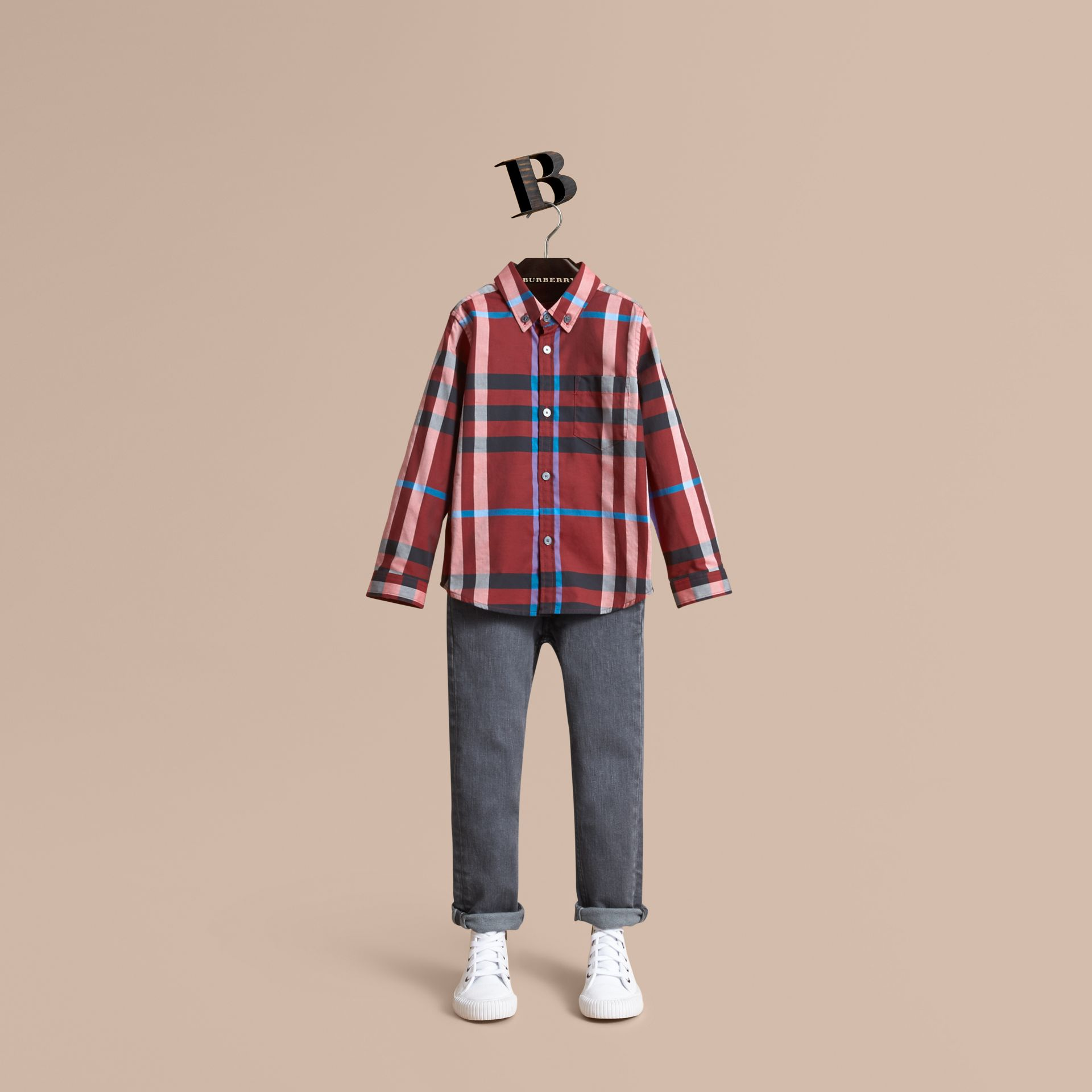 Check Cotton Button-Down Shirt in Carmine Red - Boy | Burberry Canada - gallery image 1