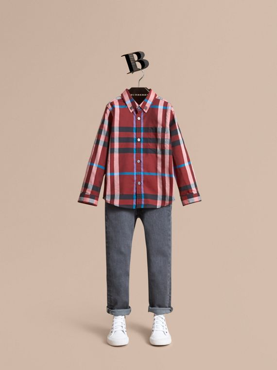 Check Cotton Button-Down Shirt in Carmine Red