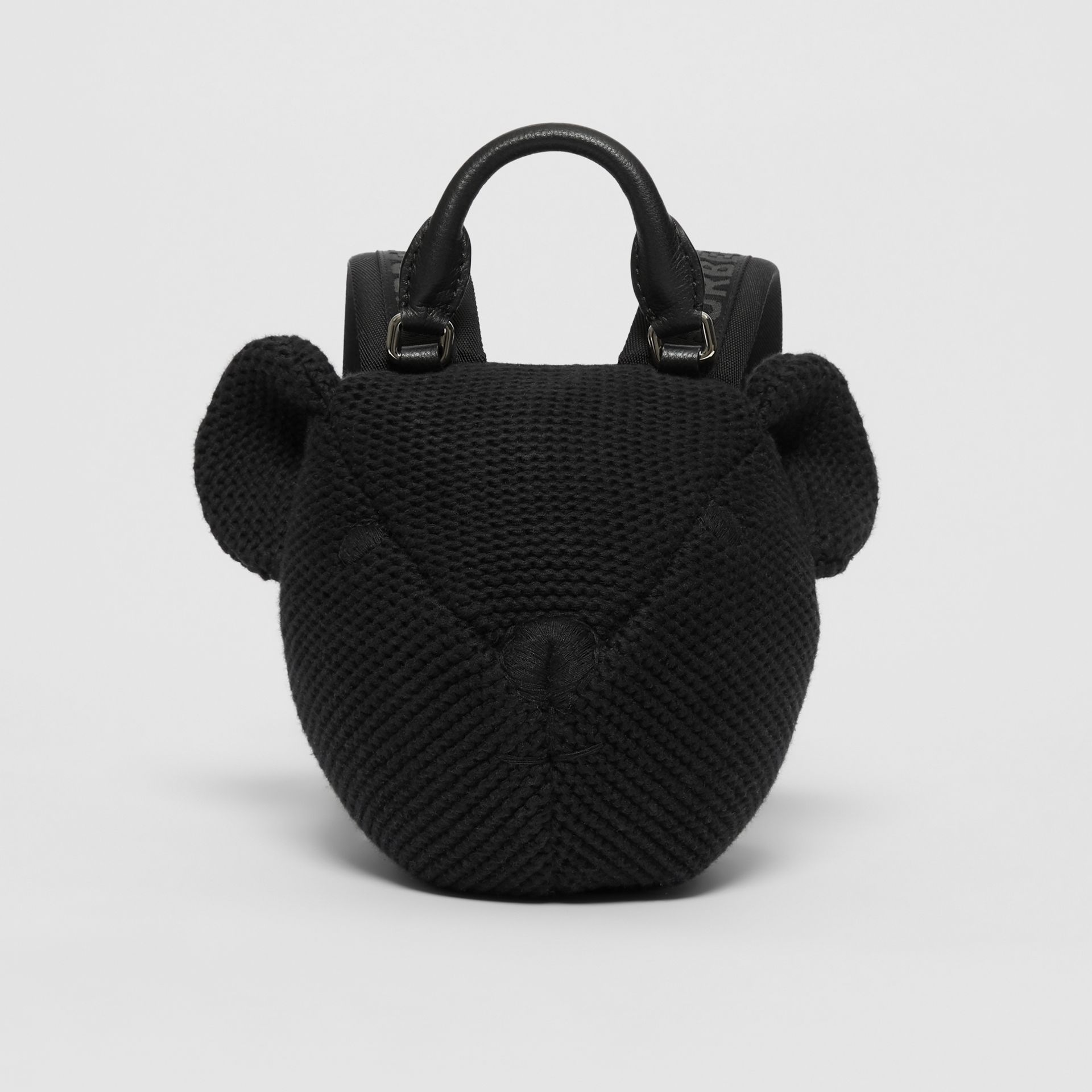 Thomas Bear Knit Cotton Backpack in Black - Children | Burberry Australia - gallery image 0