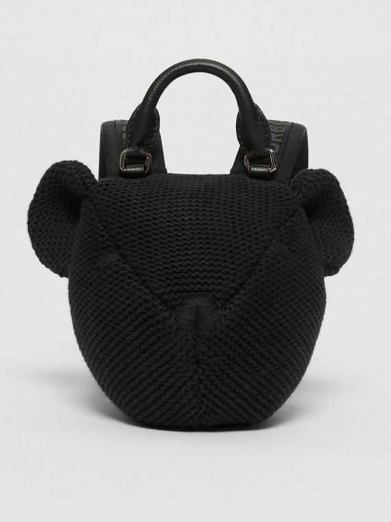 Thomas Bear Knit Cotton Backpack in Black