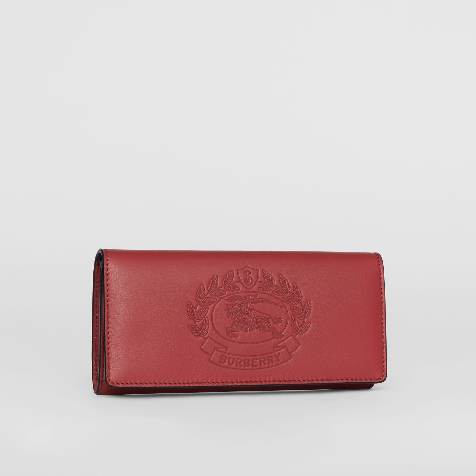 Embossed Crest Two-tone Leather Continental Wallet in Crimson - Women | Burberry - gallery image 4