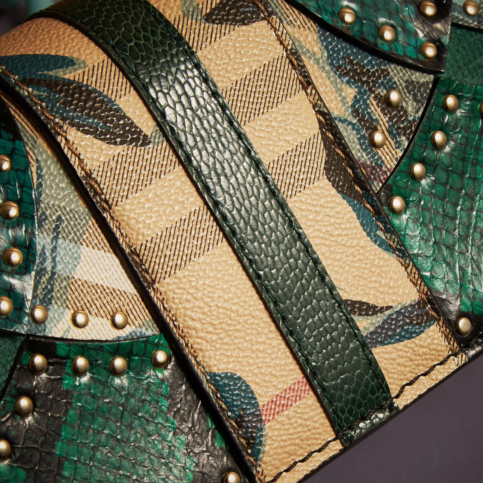 The Small Buckle Bag in Riveted Snakeskin and Floral Print - gallery image 2