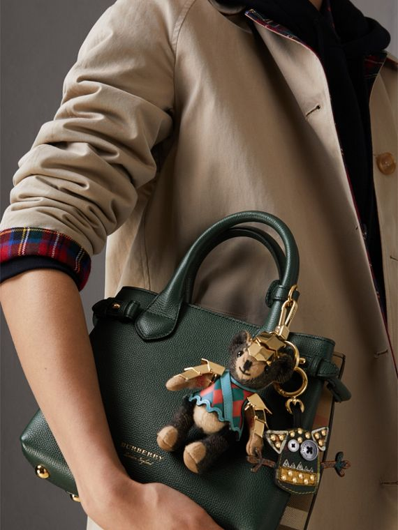 The Small Banner in Leather and House Check in Dark Bottle Green - Women | Burberry Singapore - cell image 3