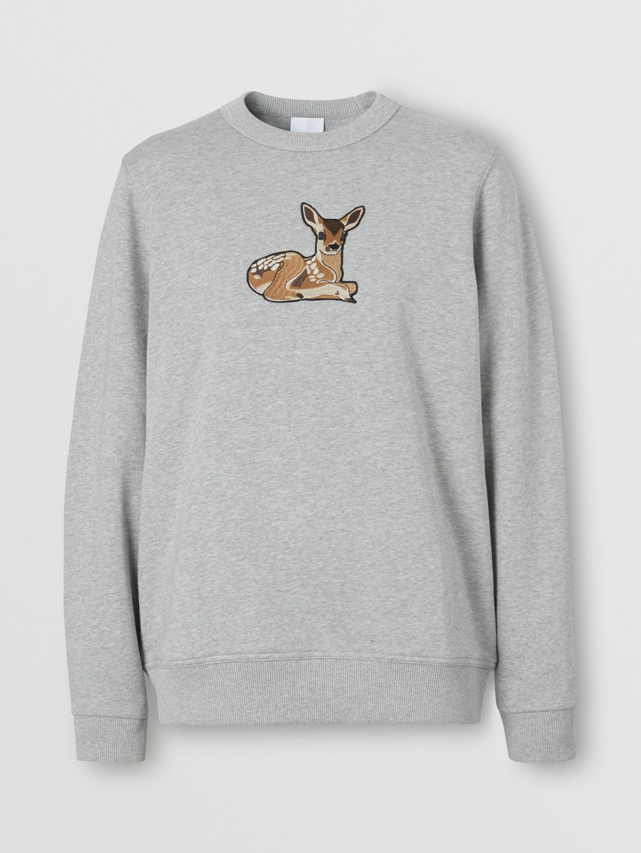 Deer Motif Cotton Oversized Sweatshirt (Pale Grey Melange)