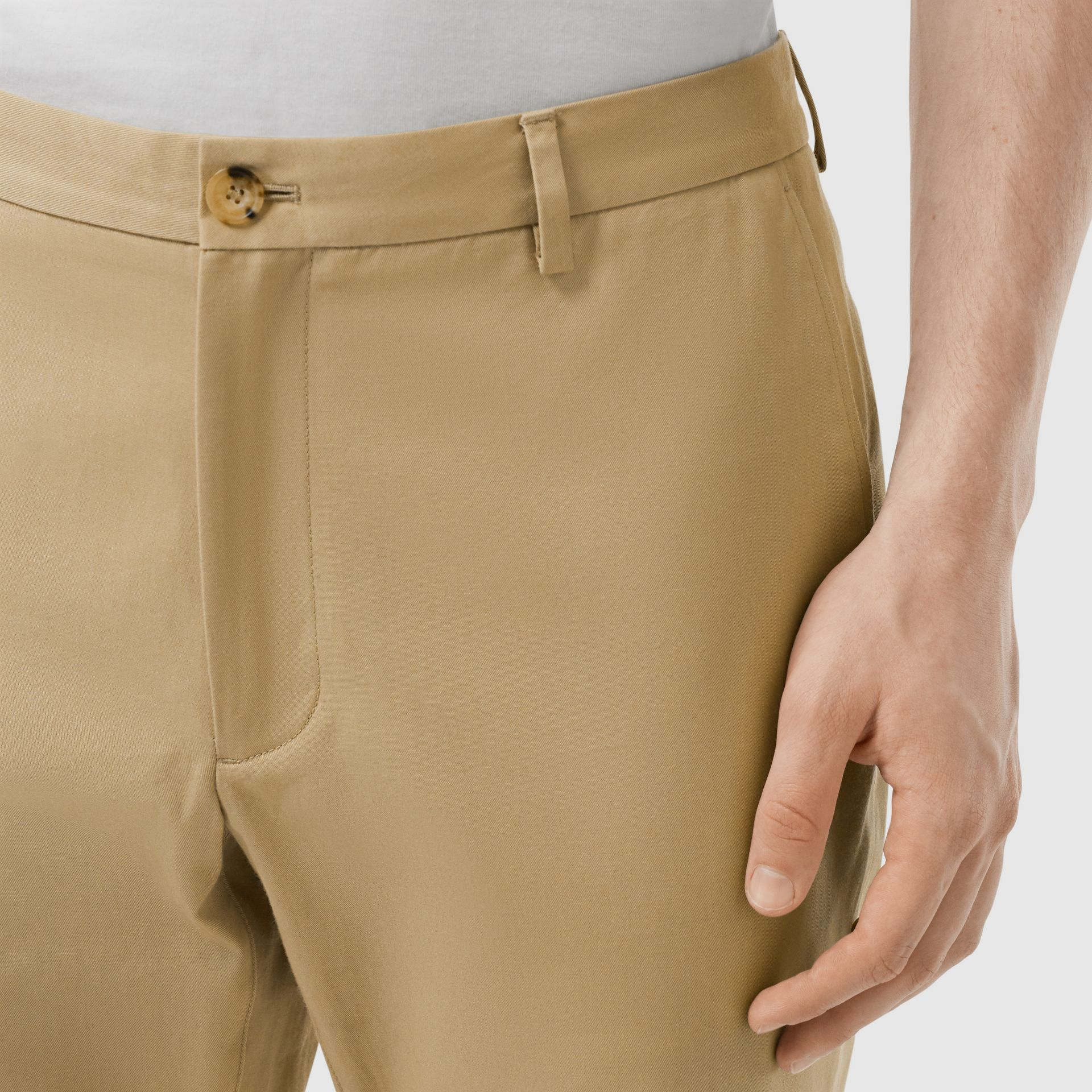 Slim Fit Cotton Chinos in Honey - Men | Burberry - gallery image 4