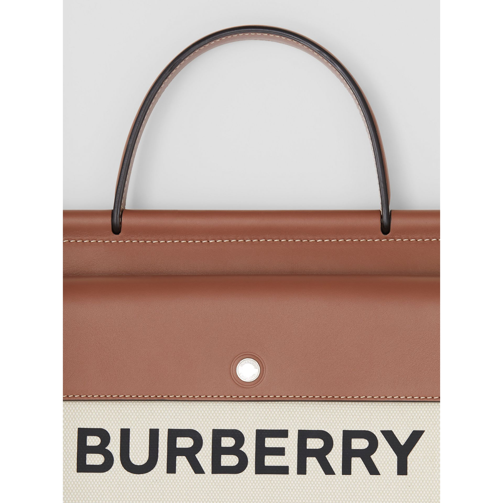 Small Horseferry Print Title Bag with Pocket Detail in Natural/malt Brown - Women | Burberry - gallery image 1