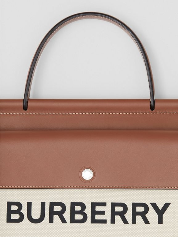Small Horseferry Print Title Bag with Pocket Detail in Natural/malt Brown - Women | Burberry - cell image 1