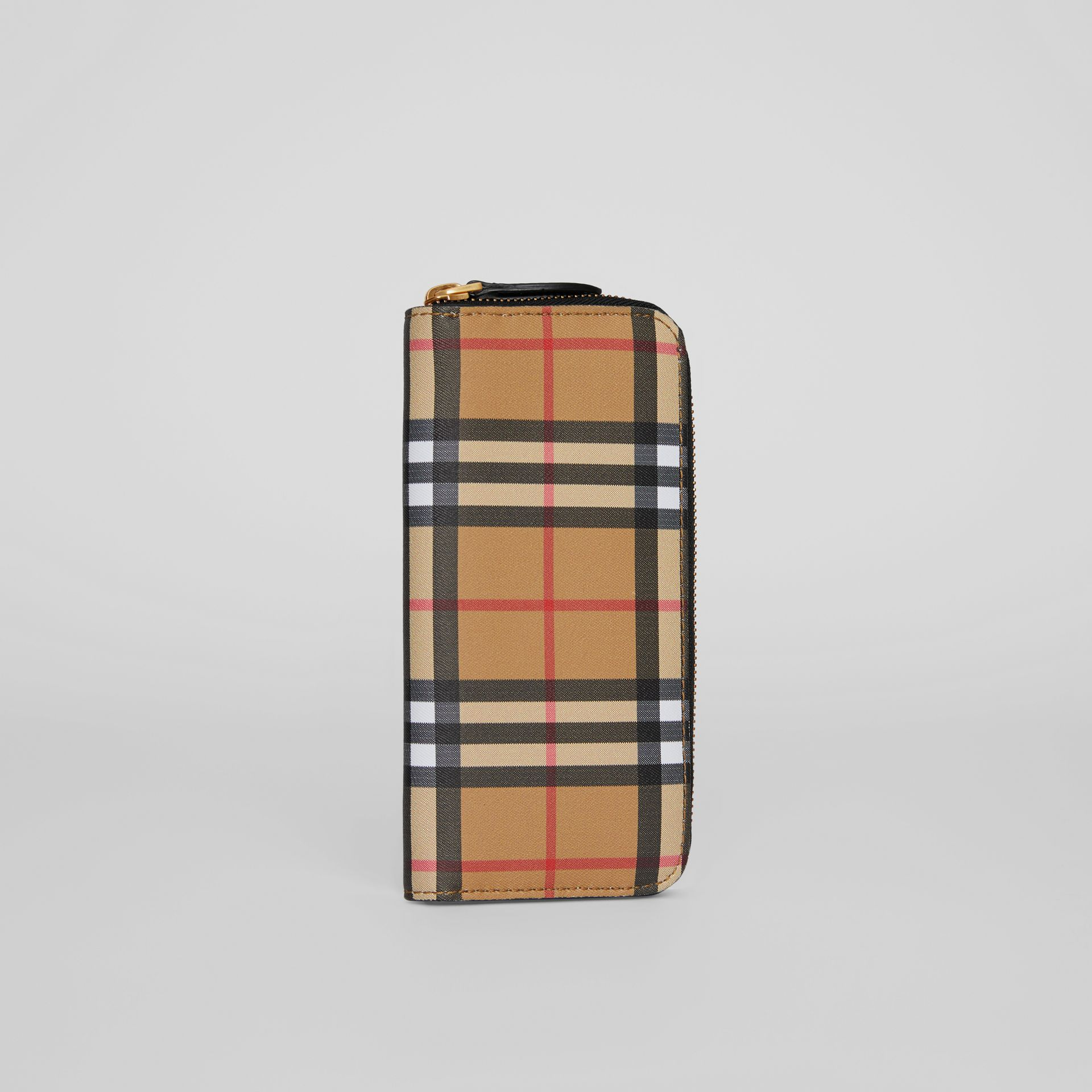 Vintage Check and Leather Ziparound Wallet in Black - Women | Burberry Hong Kong - gallery image 4