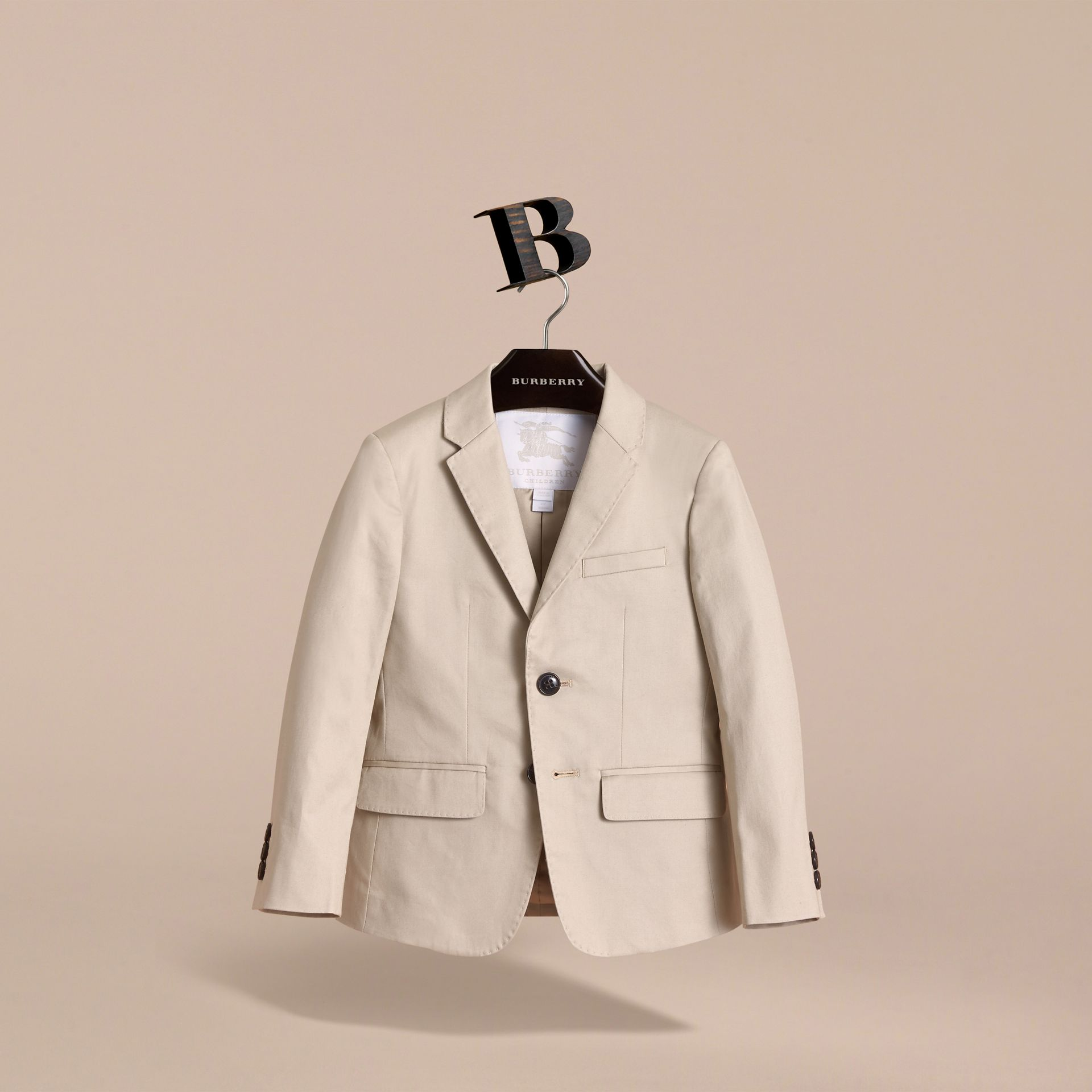 Tailored Stretch Cotton Blazer in Stone - Boy | Burberry - gallery image 3