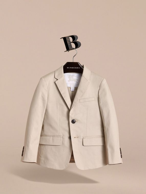 Tailored Stretch Cotton Blazer in Stone - Boy | Burberry - cell image 2