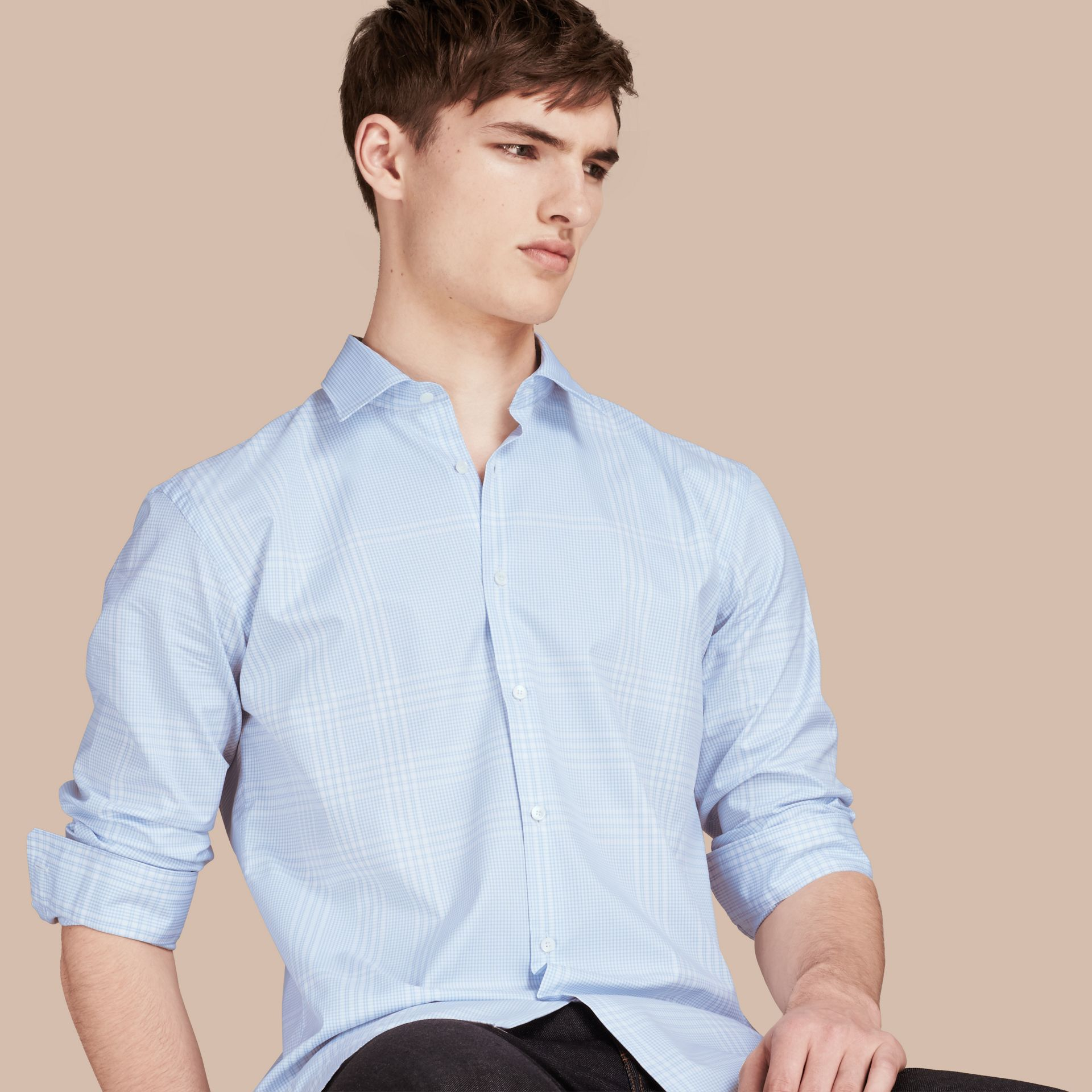 City blue Check Cotton Shirt City Blue - gallery image 1