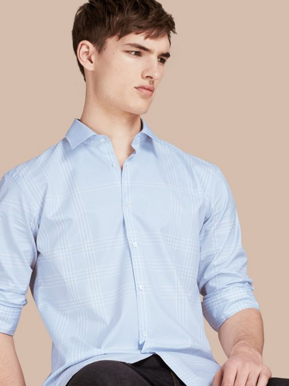 Check Cotton Shirt City Blue