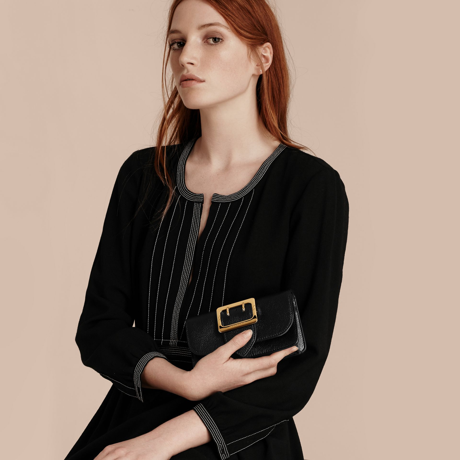 Black The Mini Buckle Bag in Grainy Leather Black - gallery image 4
