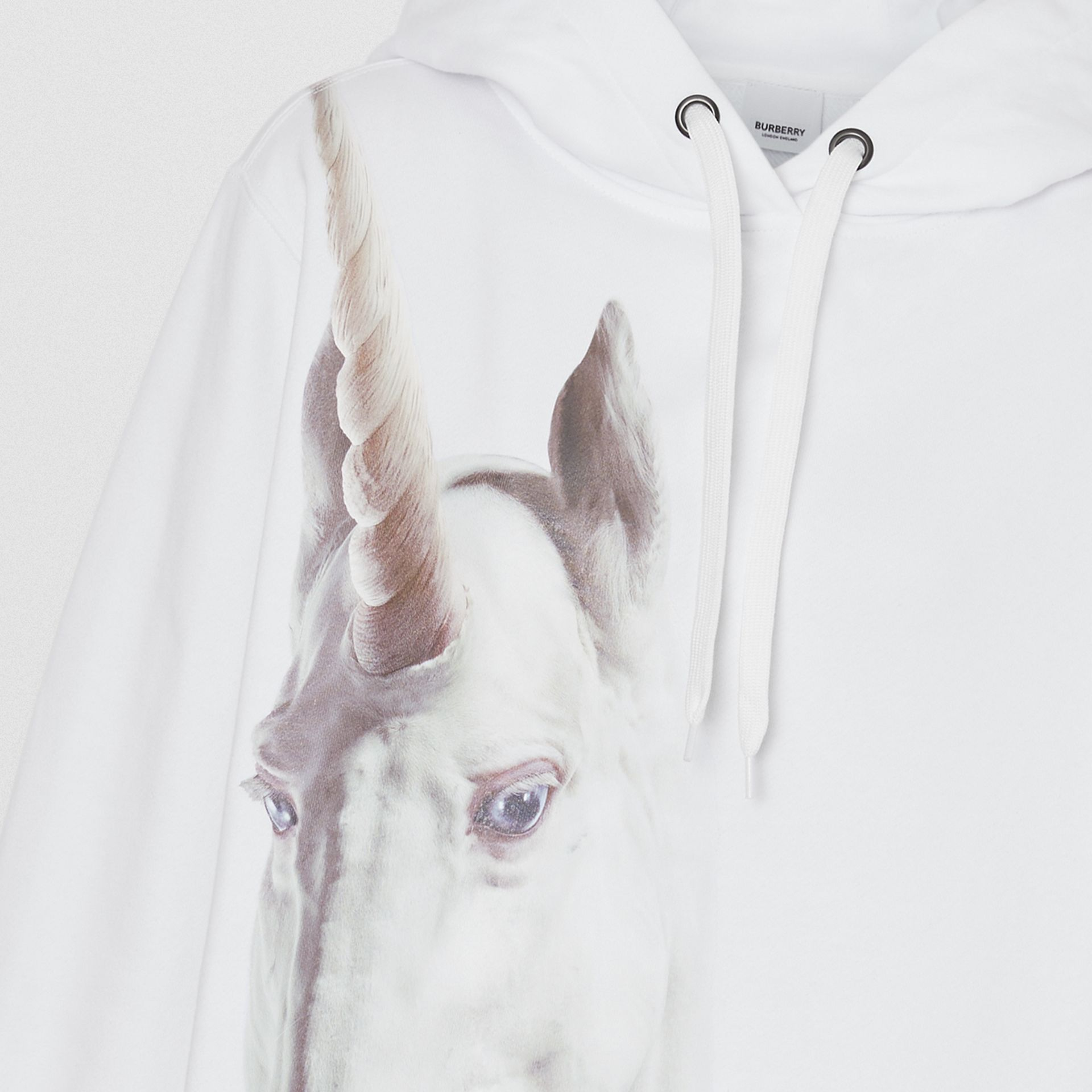 Unicorn Print Cotton Oversized Hoodie in White - Women | Burberry - gallery image 4