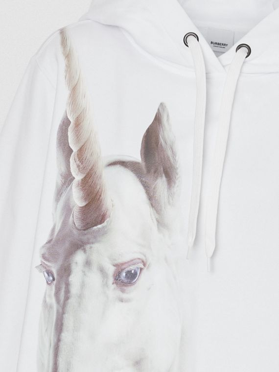 Unicorn Print Cotton Oversized Hoodie in White