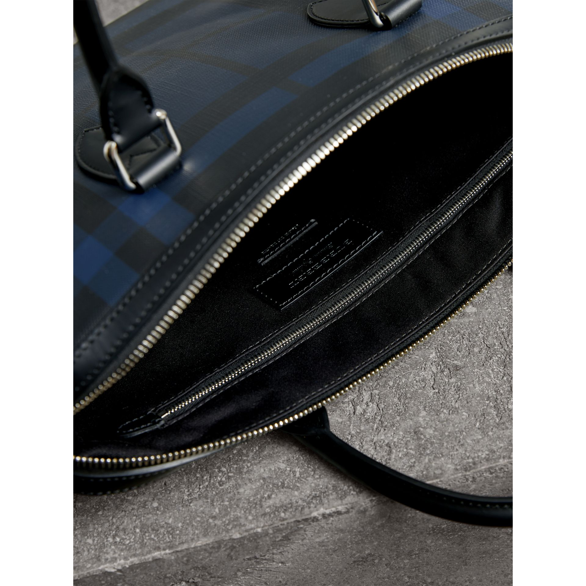 Medium Leather Trim London Check Briefcase in Navy/black - Men | Burberry Singapore - gallery image 6