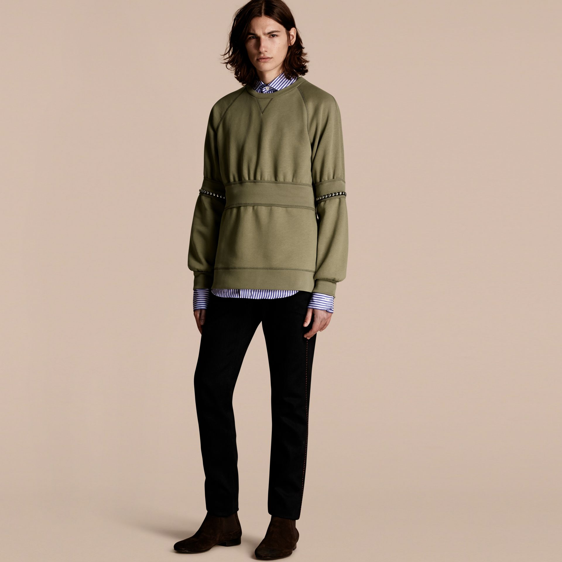 Khaki Puff-sleeved Cotton Blend Jersey Sweatshirt - gallery image 6