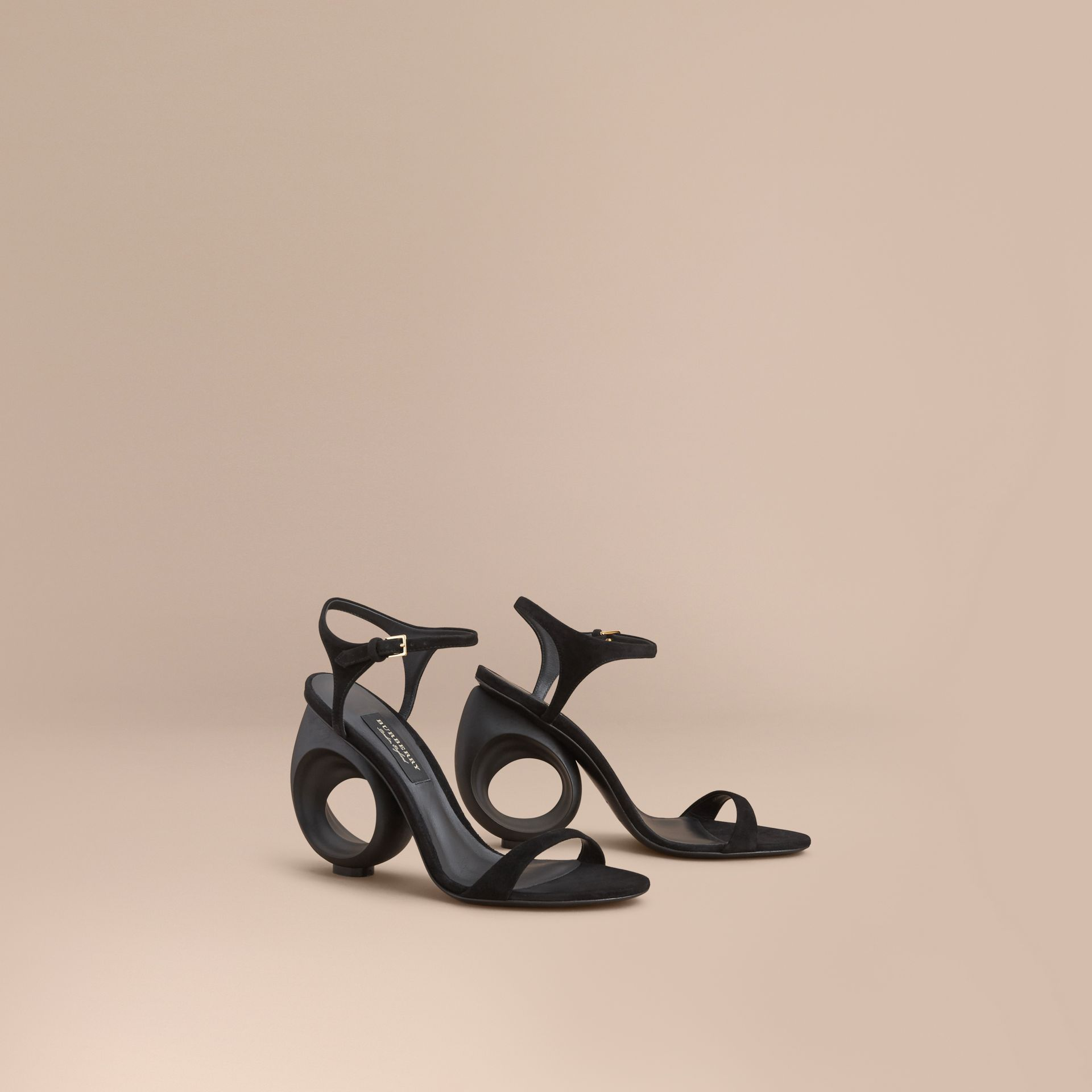 Sculpted Heel Suede Sandals in Black - Women | Burberry Canada - gallery image 1