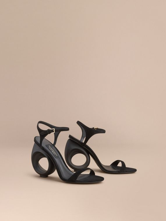 Sculpted Heel Suede Sandals - Women | Burberry Australia