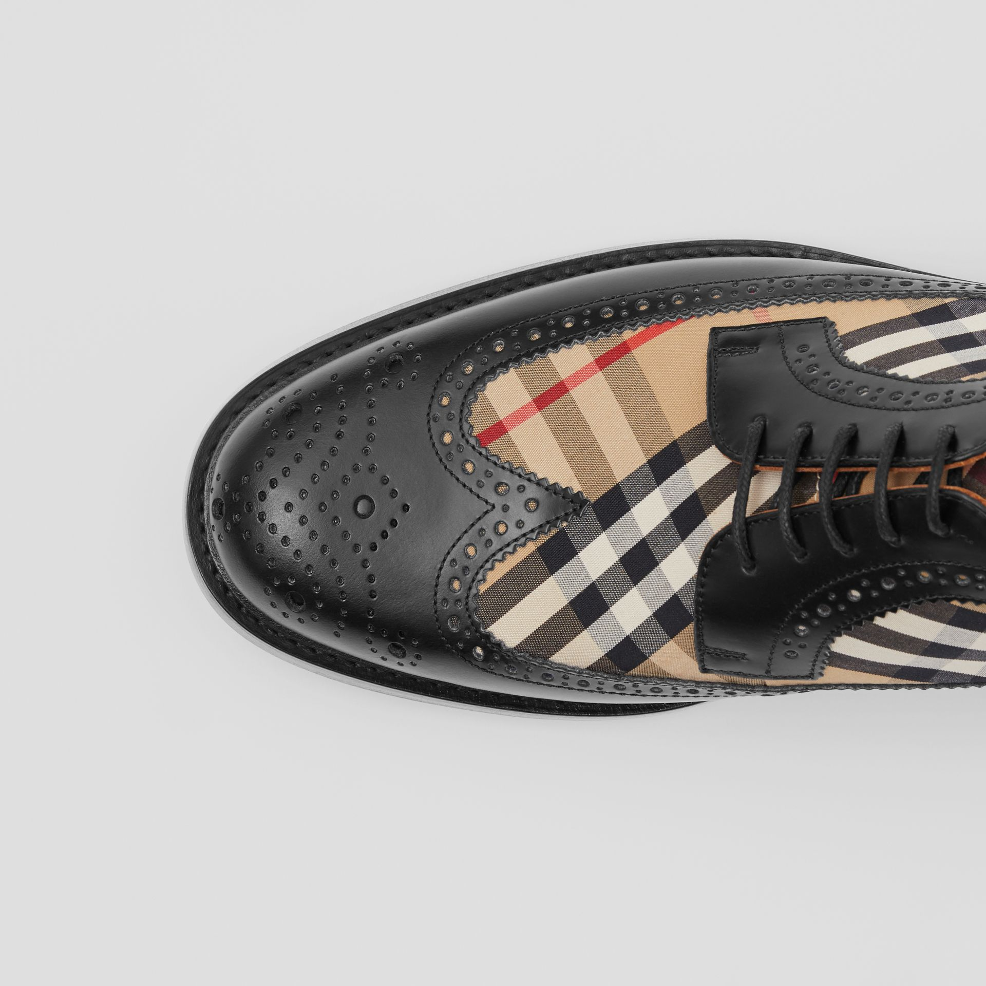 Brogue Detail Leather and Vintage Check Derby Shoes in Black/archive Beige - Men | Burberry - gallery image 1