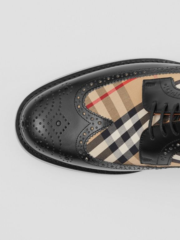 Brogue Detail Leather and Vintage Check Derby Shoes in Black/archive Beige - Men | Burberry - cell image 1