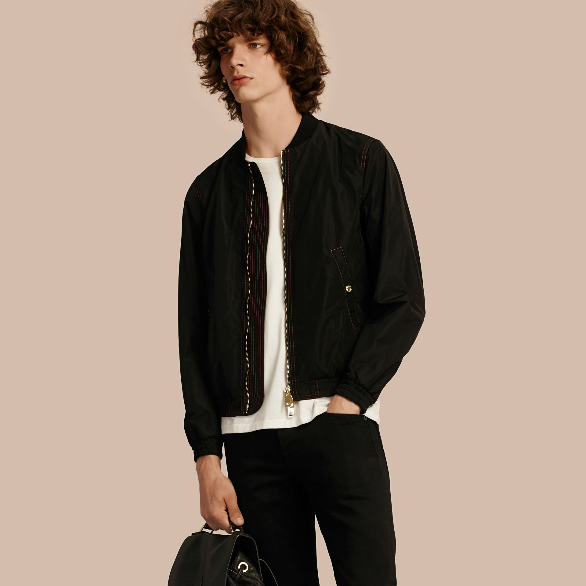 Black Lightweight Topstitch Detail Taffeta Bomber Jacket - gallery image 1