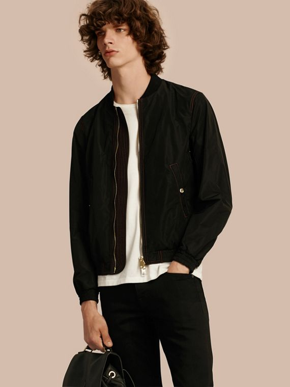 Lightweight Topstitch Detail Taffeta Bomber Jacket