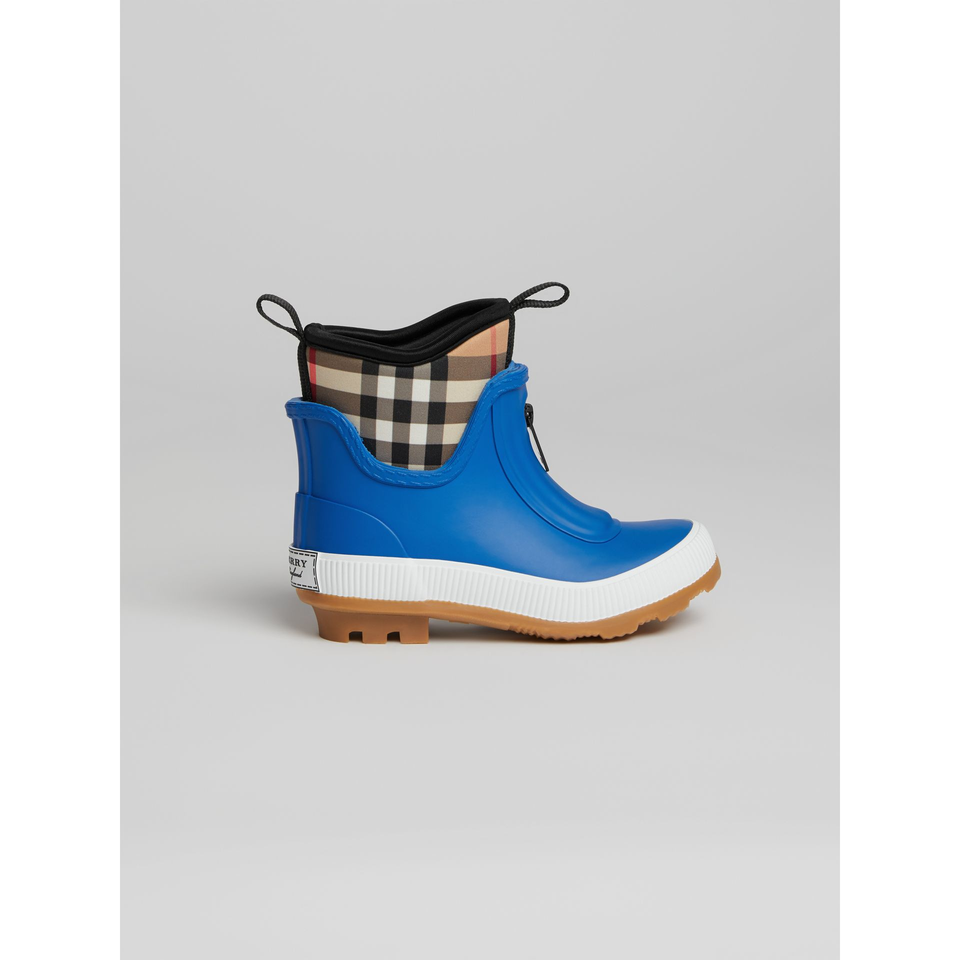 Vintage Check Neoprene and Rubber Rain Boots in Bright Canvas Blue | Burberry - gallery image 3