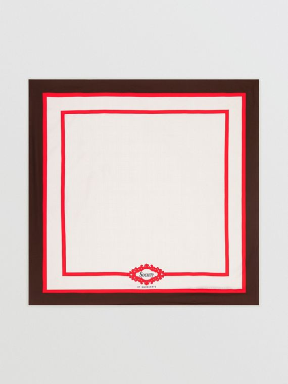 Archive Society Print Silk Square Scarf in Mahogany