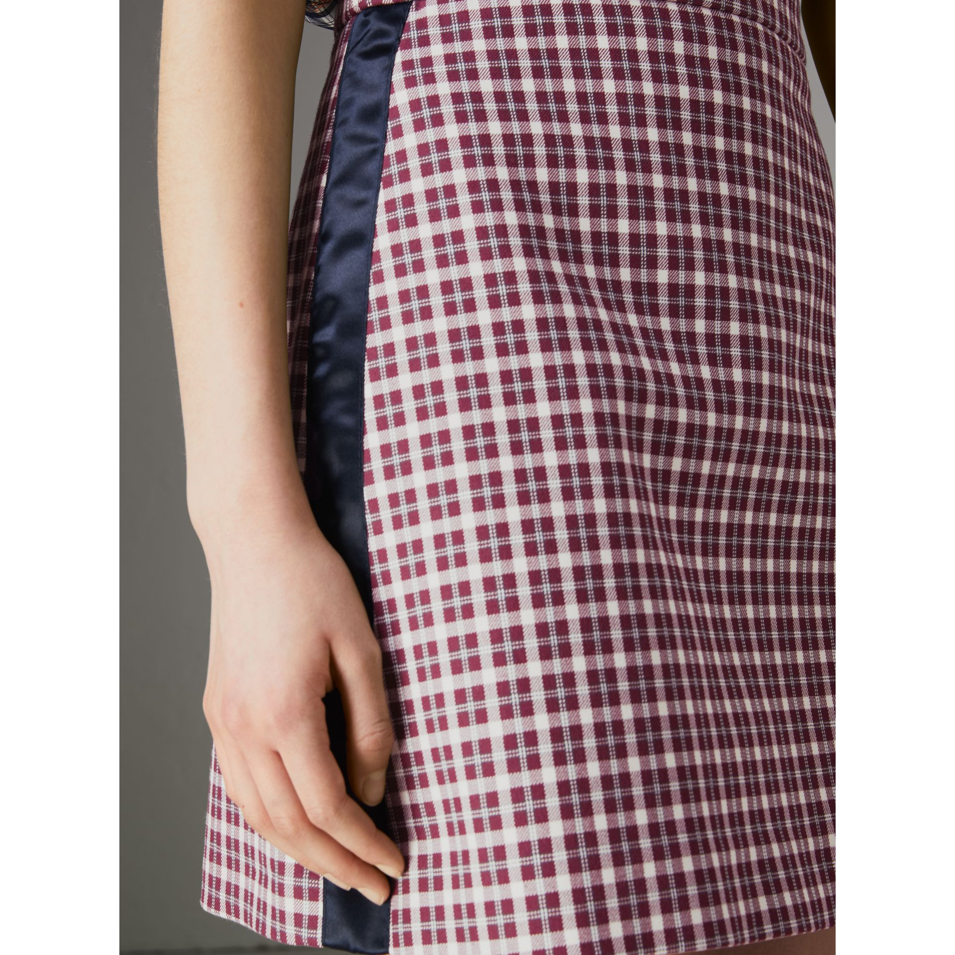 Stripe Detail Check Cotton Mini Skirt in Burgundy - Women | Burberry United Kingdom - gallery image 1