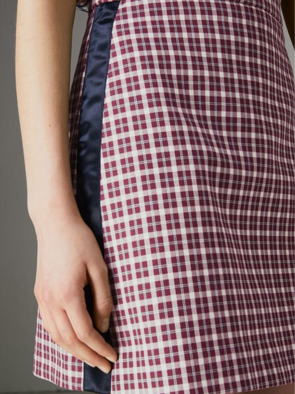 Stripe Detail Check Cotton Mini Skirt in Burgundy - Women | Burberry Singapore - cell image 1