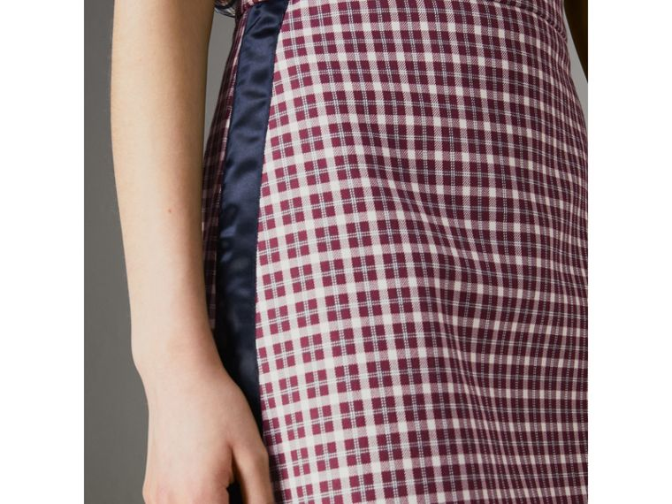 Stripe Detail Check Cotton Mini Skirt in Burgundy - Women | Burberry - cell image 1