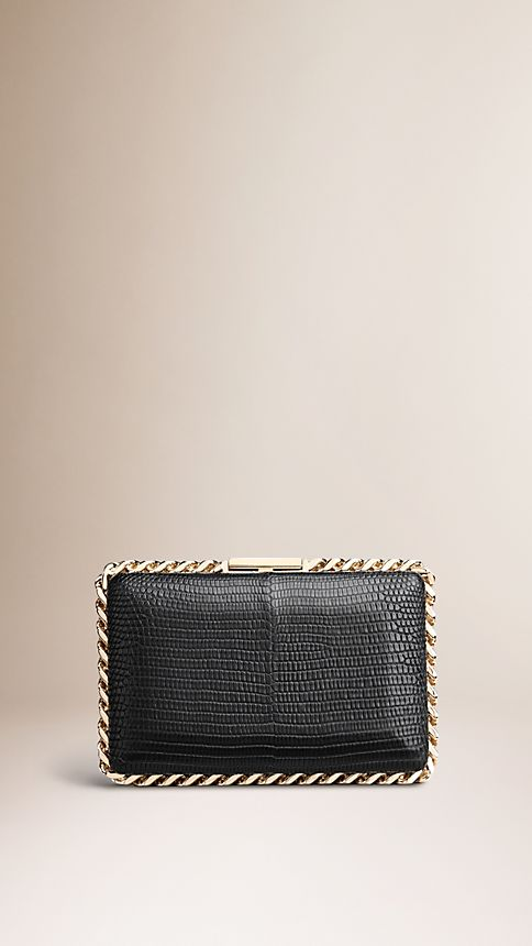 Black Chain-Detail Lizard Box Clutch - Image 1